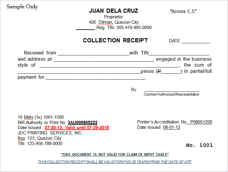 BIR June 2013 – Official Receipt Sample Format