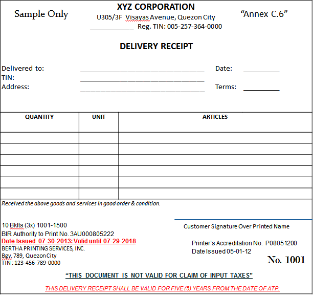 Collection Receipt Delivery Receipt NONVAT OR2  Official Receipt Sample Format