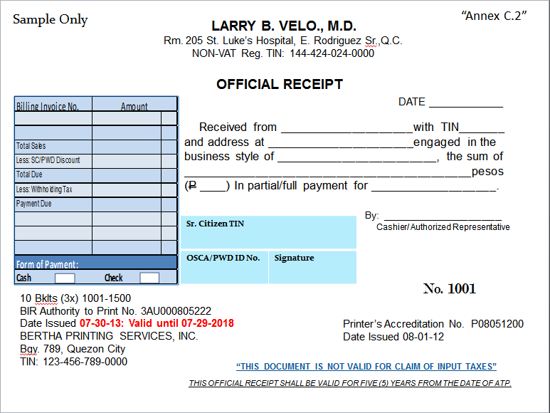 Doc640348 Official Receipt Sample Official Receipt Template – Sample Official Receipt