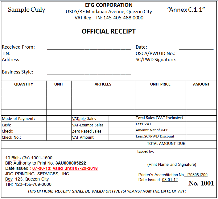Samples Of Receipts Template Examples – Sample Official Receipt