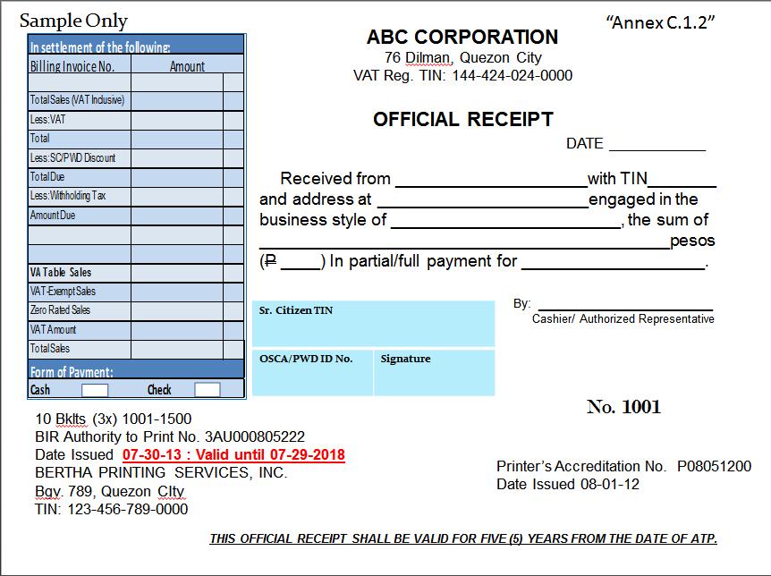 Acknowledgement Letter Receipt Tax
